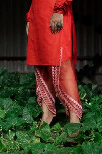 Imroz - Red silk kurta with embroidered sheer tulip pants set
