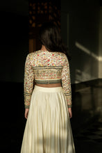 Seher - Embroidered ivory jacquard blouse