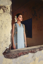 Leandra - Powder blue hand embroidered long tunic with mandarin collar