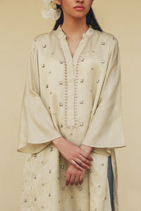 Nella - Ivory Hand embroidered boxy tunic