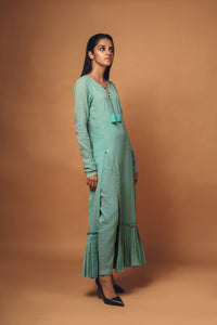 Aria - Pleated hem tunic with side slit and straight leg pants set