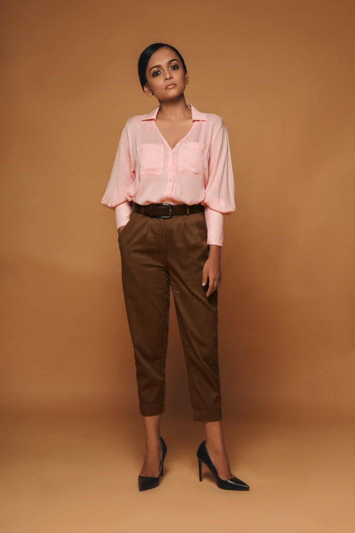 Allegra - Collared Shirt with bishop sleeves