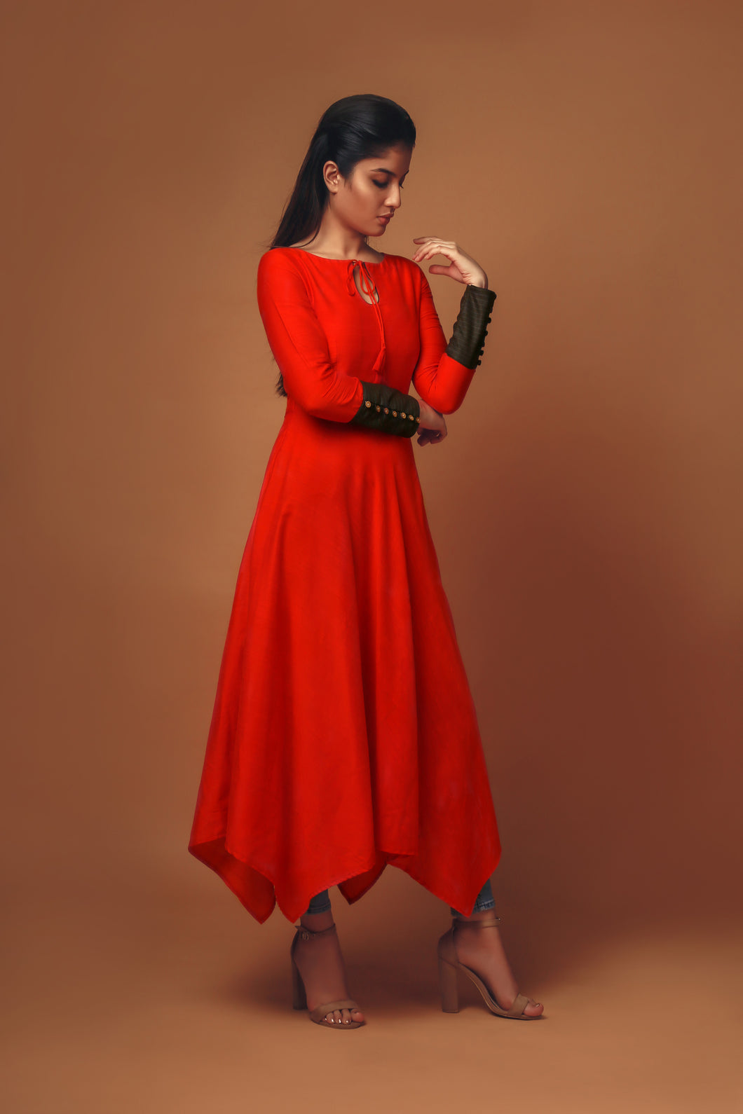 Scarlet - Tangerine red tunic with handkerchief hem