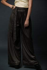 Bertie - Pleated wide leg pants with belt