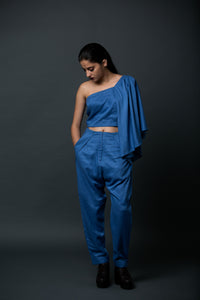 Camila - Tone-on-tone draped blouse with peg trousers
