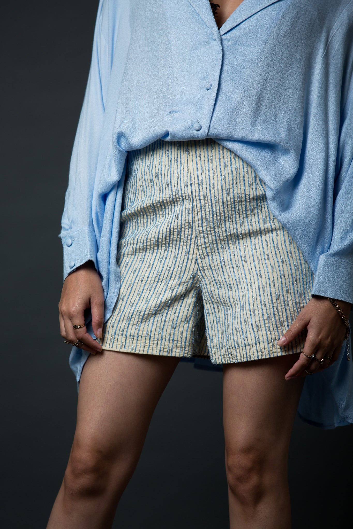 Gustel - High waist embroidered shorts