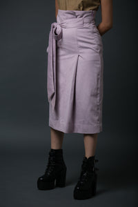 Diane - High waist pleated midi skirt with belt