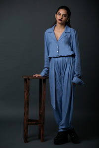 Adam - Notched collar jumpsuit with self belt