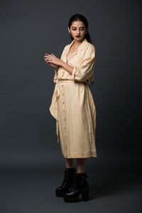Bouffant - Oversized midi notched collar shirt dress with belt