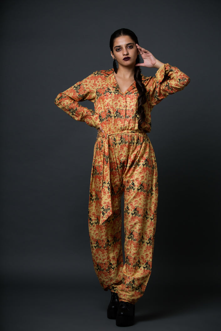 Adam - Printed notched collar jumpsuit with self belt