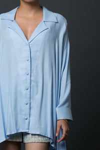 Aleda - Oversized notched collar shirt