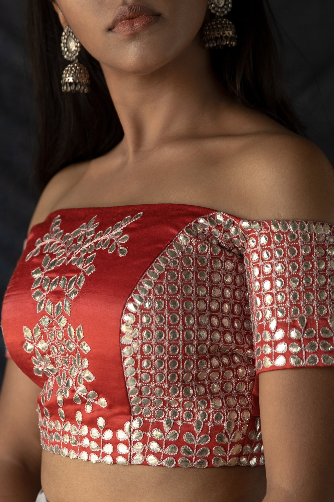 Ahalya - Red off-shoulder gota embroidered blouse