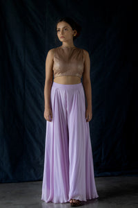 Rimjhim - Lavender pleated palazzo pants