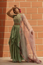 Nargis - Tea green printed chanderi silk lehenga set
