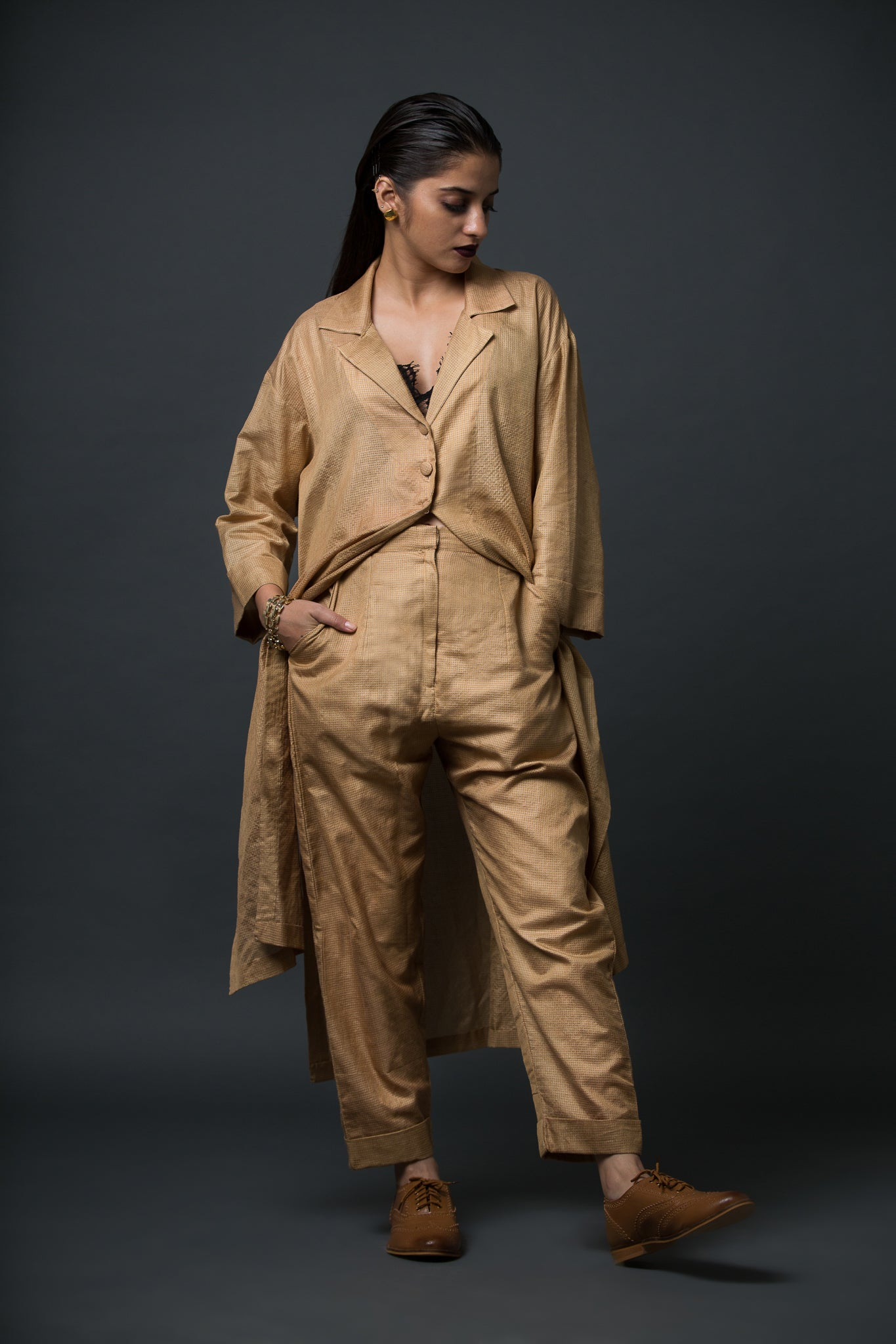 Charlotte - Tone-on-tone tunic jacket and peg trousers