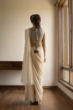 Gauhar - Embroidered boat neck blouse with open back