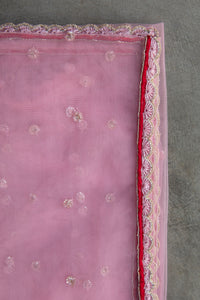 Ziba - Pink hand embroidered butti work swiss net dupatta