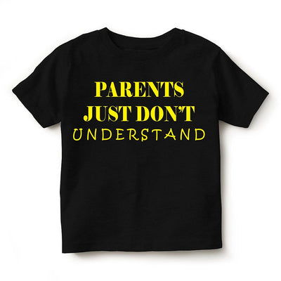 Kid's Printed Round Neck Cotton Half Sleeve T-Shirt, Parents Don't Understand, Black, T-Shirt - GeekDawn