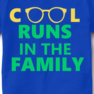 Kid's Printed Round Neck Cotton Half Sleeve T-Shirt, Cool runs in the family, Royal Blue, Kid's T-Shirt - GeekDawn