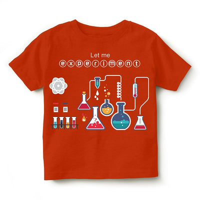 Kid's Printed Round Neck Cotton Half Sleeve T-Shirt(Experiment), Orange, Kid's T-Shirt - GeekDawn