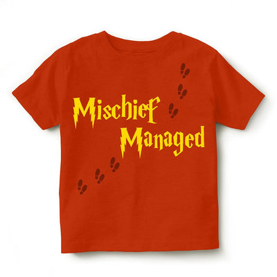 Kid's Printed Round Neck Cotton Half Sleeve T-Shirt(Mischief Managed), Orange, Kid's T-Shirt - GeekDawn