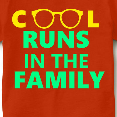 Kid's Printed Round Neck Cotton Half Sleeve T-Shirt(Cool runs in the family), Orange, Kid's T-Shirt - GeekDawn