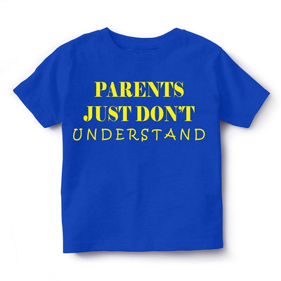 Kid's Printed Round Neck Cotton Half Sleeve T-Shirt(Parents Don't Understand), Royal Blue, Kid's T-Shirt - GeekDawn