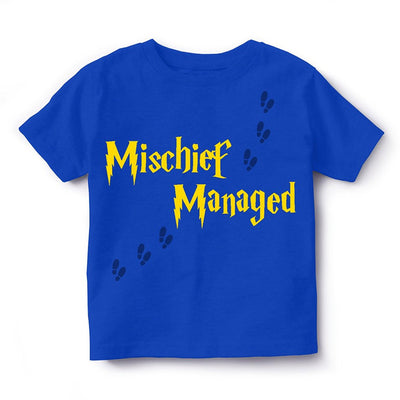 Kid's Round Neck Cotton Half Sleeve T-Shirt, Mischief Managed, Royal Blue, Kid's T-Shirt - GeekDawn