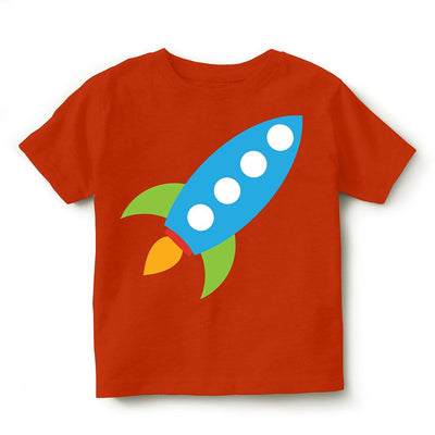 Kid's Printed Round Neck Cotton Half Sleeve T-Shirt(Rocket), Orange, Kid's T-Shirt - GeekDawn