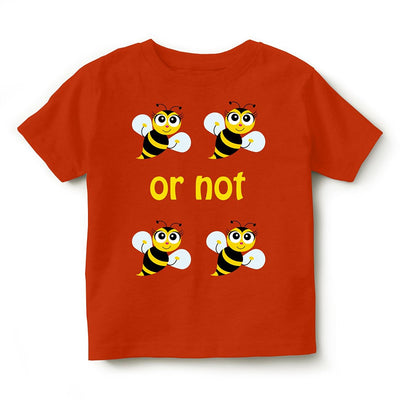 Kid's Printed Round Neck Cotton Half Sleeve T-Shirt(To Be Or Not To Be), Orange, Kid's T-Shirt - GeekDawn