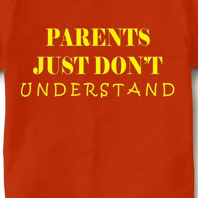 Kid's Printed Round Neck Cotton Half Sleeve T-Shirt(Parents Don't Understand), Orange, Kid's T-Shirt - GeekDawn