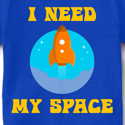 Kid's Printed Round Neck Cotton Half Sleeve T-Shirt, I Need My Space, Royal Blue, Kid's T-Shirt - GeekDawn