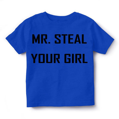 Kid's Printed Round Neck Cotton Half Sleeve T-Shirt, Mr Steal, Royal Blue, Kid's T-Shirt - GeekDawn