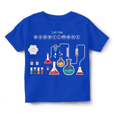 Kid's Printed Round Neck Cotton Half Sleeve T-Shirt(Experiment), Royal Blue, Kid's T-Shirt - GeekDawn