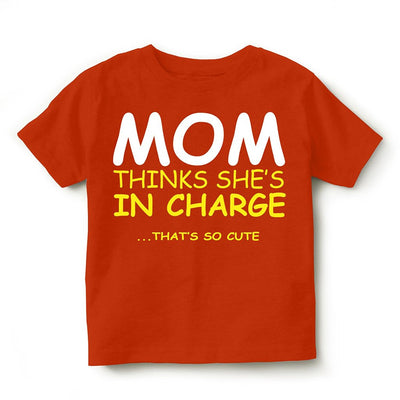 Kid's Printed Round Neck Cotton Half Sleeve T-Shirt(Mom Thinks), Orange, Kid's T-Shirt - GeekDawn