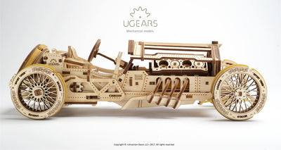 "Ugears ""U-9 Grand Prix Car Kit"" I DIY Self-Assembly Mechanical Kits For Teens and Adults"