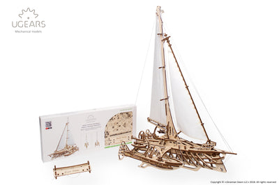"Ugears ""Trimaran Merihobus Kit"" I DIY Self-Assembly Mechanical Kits For Teens and Adults"