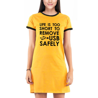 Life is too short to remove USB safely , Programming , Coding , Women's Dress - GeekDawn