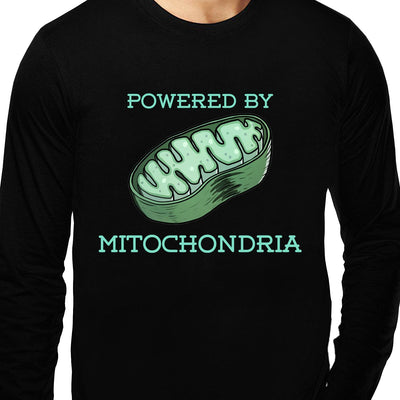 Powered by Mitochondria , Biology , Unisex Graphic Full Sleeves T-Shirt - GeekDawn
