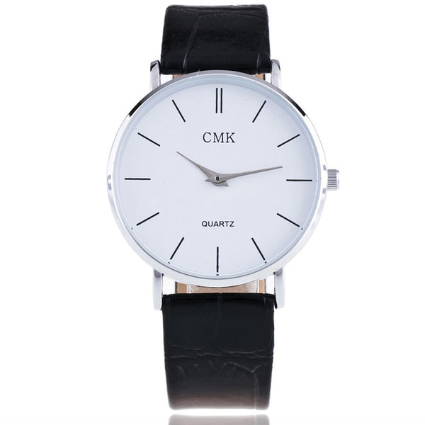 Fashion Brand Men Watches Super Thin Simple Face Design Qaurtz-watch With Black Leather Band Ultraslim Mens Wrist watch
