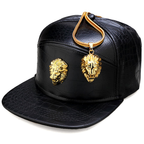 NYUK Metal Gold Lion Head Logo PU Leather Baseball Cap Casual Unisex Belt Buckle Hip Hop Rap 5 Panel Sun Snapback Hats Men Women