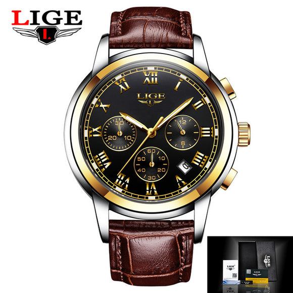 LIGE Leather Quartz