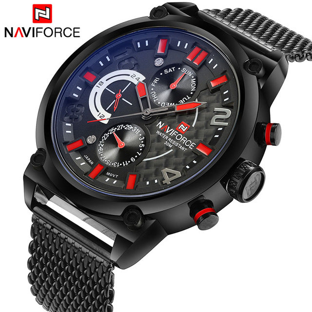 Naviforce Luxury Brand Men Stainless Steel Analog Watches Men's Fashion Casual Sports Wrist Watch