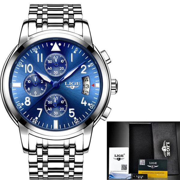 Men Watches Top Brand Luxury Fashion Business Quartz Full Steel Waterproof Gold Clock