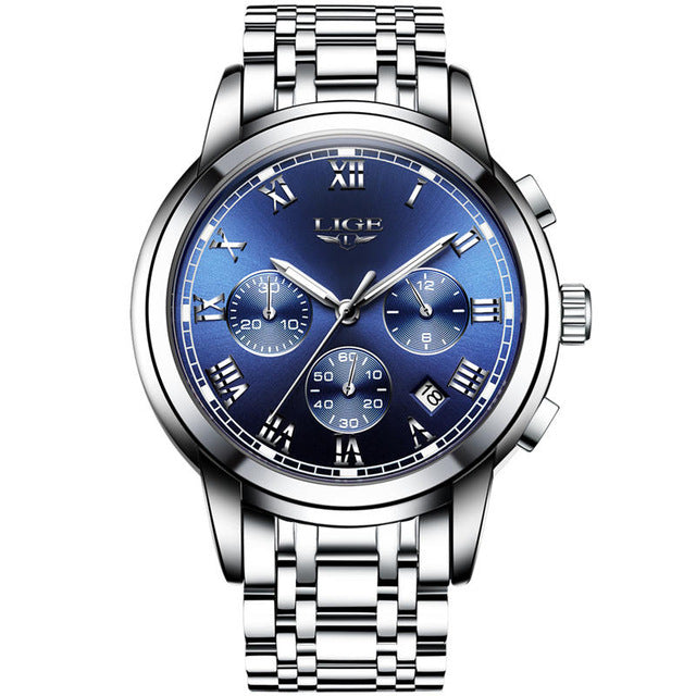LIGE Chronograph Watches Waterproof Full Steel