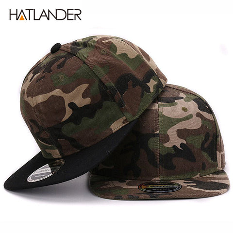 HATLANDER Camouflage snapback polyester cap blank flat camo baseball cap for men and women