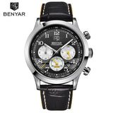 BENYAR Brand Sport Waterproof Top Brand Luxury Male Leather Quartz