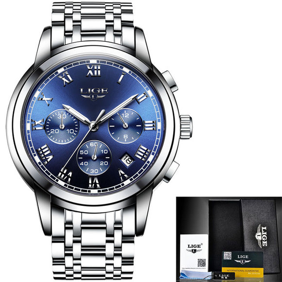 Luxury LIGE Chronograph Men Watch