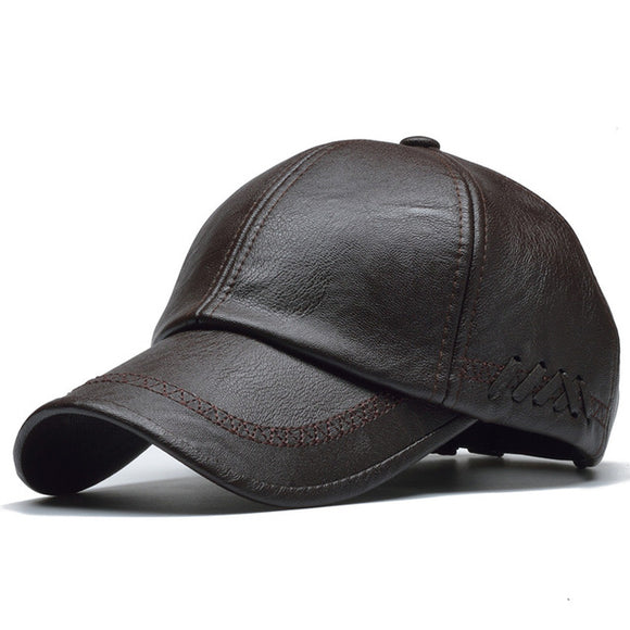 Solid Pu Leather Cap