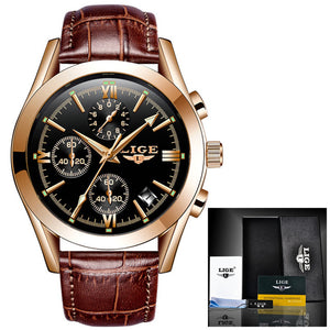 LIGE Fashion Leather Top Brand Luxury Waterproof Watch